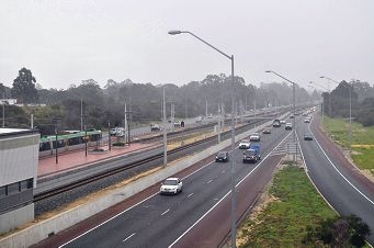 The Kwinana freeway south bound.