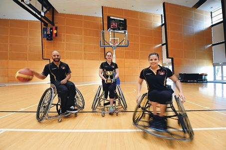 Wheelchair basketballers Ryan Morich, Kathleen O'Kelly-Kennedy and Clare Nott. Picture: Marcus Whisson d424285