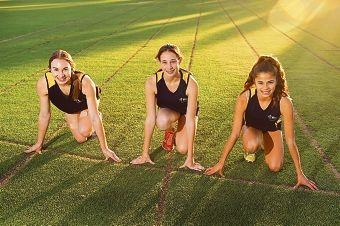 St Mary's Anglican Girls' School Year 9 students, from left, Amy Tolcon, Erin Bond and Abby D'Sylva. Picture: Marcus Whisson d423821