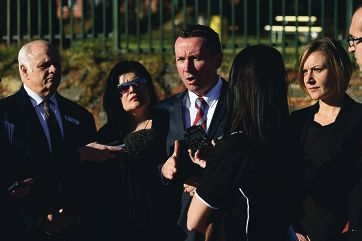 Opposition leader Mark McGowan with East Metropolitan Region MLC Amber-Jade Sanderson (right), school council chairman Jack Garber and PTA president Michele Drieberg outside Morley Senior High School. Picture: Marcus Whissond424108