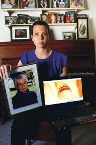 Helen Summers with images of her grandmother and the ring. Picture: Andrew Ritchie d424124