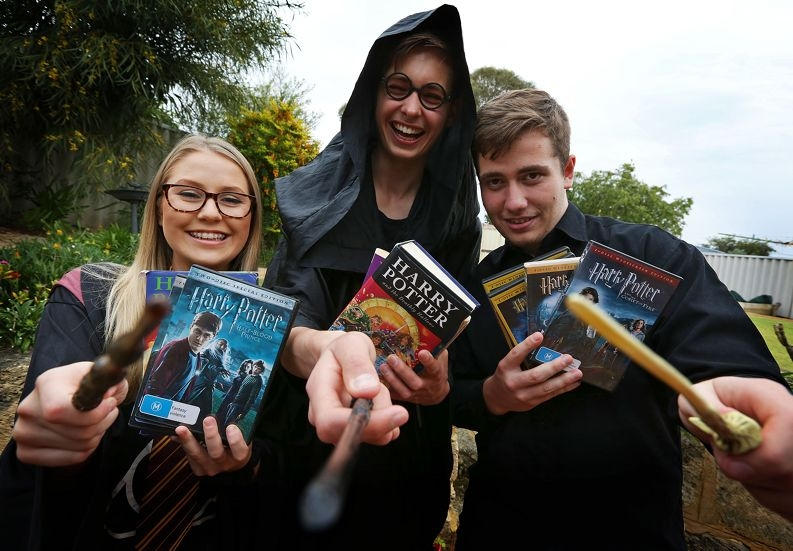 Mia Denny, Michael Kerrison and Daniel O'Callaghan drump up support for Harry Potter screenings. Picture Matt Jelonek d425162
