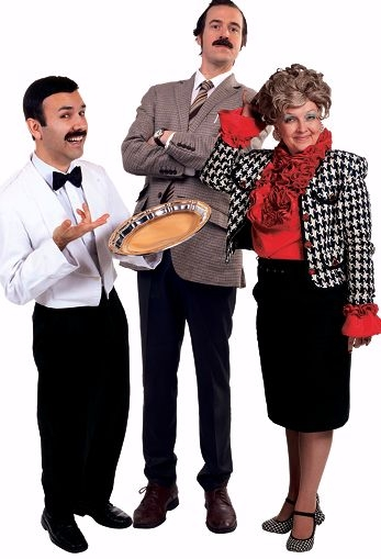 The Faulty Towers cast features Paul Geoghegan as Basil, Karen Hamilton as Sybil and Anthony Sottile as Manuel
