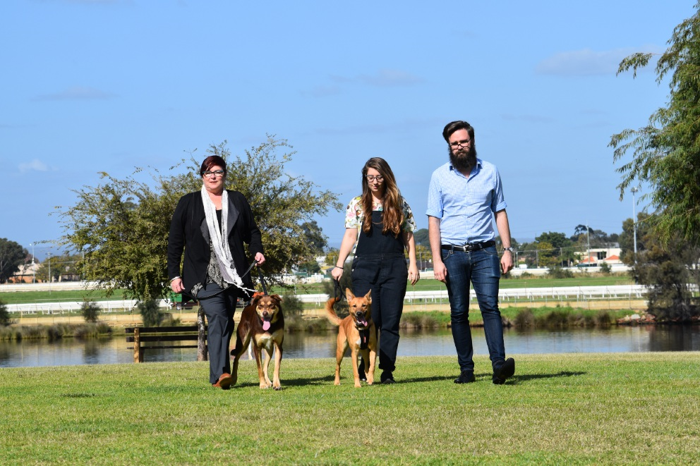 Maylands MLA Lisa Baker, residents Marije Van Hemert and Dom Rose, with dogs Tuff and Boo.
