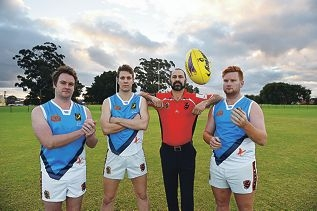 Osborne Park Football Club president Nathan Barnett with players (from left) Casey Grogan, Lucas Sartori and Trevor Mahony in their BeyondBlue jumpers. Picture: Marcus Whisson d423816