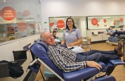 Brian Steele and registered nurse Scherrie Davenhill at South Fremantle's spanking new donor centre. Picture: Martin Kennealey d423586