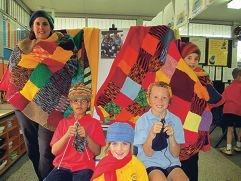 Year 2 teacher Kiki McCormack with Mace Chettiyadan, |Sienna Hay, Mitchell Bentley and Maya Fry.