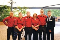 Teachers Reuchlin Teo, Sarah Pemberton, Stephen Corcoran, |Brenda Winstanley and Dave Belson with Nathan Campbell.