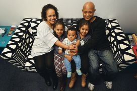 Meaza Woldeyes, husband Ghion Chlla and children Yeabsera (seven), El-Betel (six) and Eyoel (nine months). Picture: Marcus Whissond423551