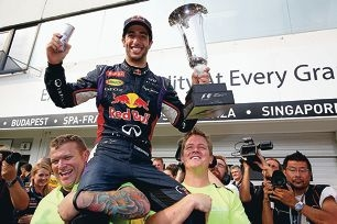 Daniel Ricciardo celebrates his victory. Picture: Getty Images