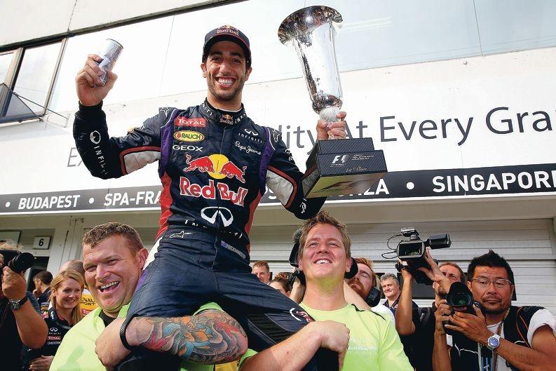 Daniel Ricciardo celebrates his second Grand Prix victory. Picture: Getty Images