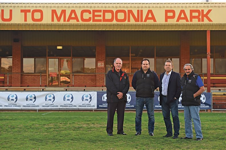 Stirling Lions Football Club president Vick Lazarov, Bayswater City Soccer Club vice-president Oriano Colli, Stirling Lions football operations manager Don Evans and Bayswater City Soccer Club president Gerry Maio. Picture: Marcus Whisson d423491