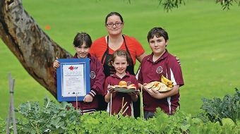 Canteen manager Pip Slaughter with Winterfold PS students Lily Olivieri, Elise Moncur and Travis Bizzotto. Picture: Martin Kennealey www.communitypix.com.au d423394