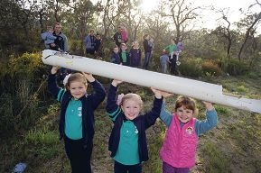Sophie and Kaydi Beggs with Nadija Stojkovski and other Landsdale residents who have asked the City to take management of land designated for a park because the developer left it as scrubland.d423483