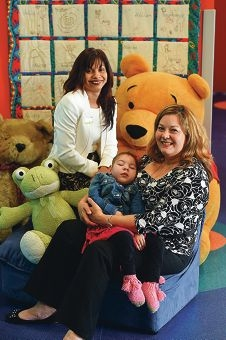 Kalparrin program and events co-ordinator Cecilia Donovan with Marla Toldo and her granddaughter Tea Lake (3).