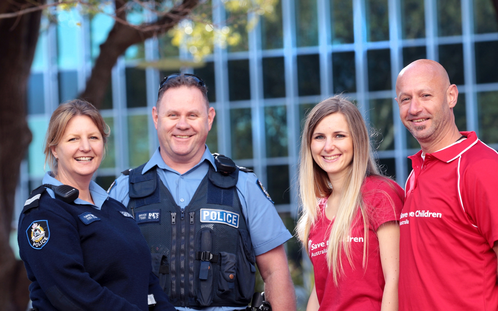 Youth crime intervention officers Kay Turner and Kim Bryce from Armadale Police with Save the Children co-ordinator for Aboriginal services Karina Chicote and youth worker Steve Dyson.