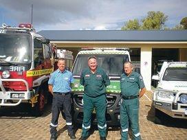 Lancelin community |paramedic Peter Hewat, |centre, with DFES Lancelin fire captain Tom Kusters and Lancelin ambulance station chairman Bob James.
