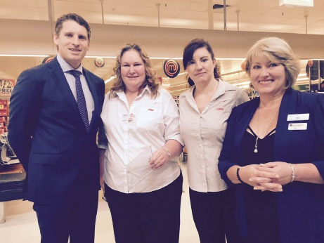 Andrew Hastie, former Coles manager Natalie Sydney-Smith who accepted the award, staff member Amy Jeffery and Forrest Personnel employment consultant Ro Bloomfield.
