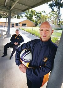 Belmont Villa Soccer Club president Keith Chambers and Giorgio Succu of Belmont. Picture: David Baylis d422422