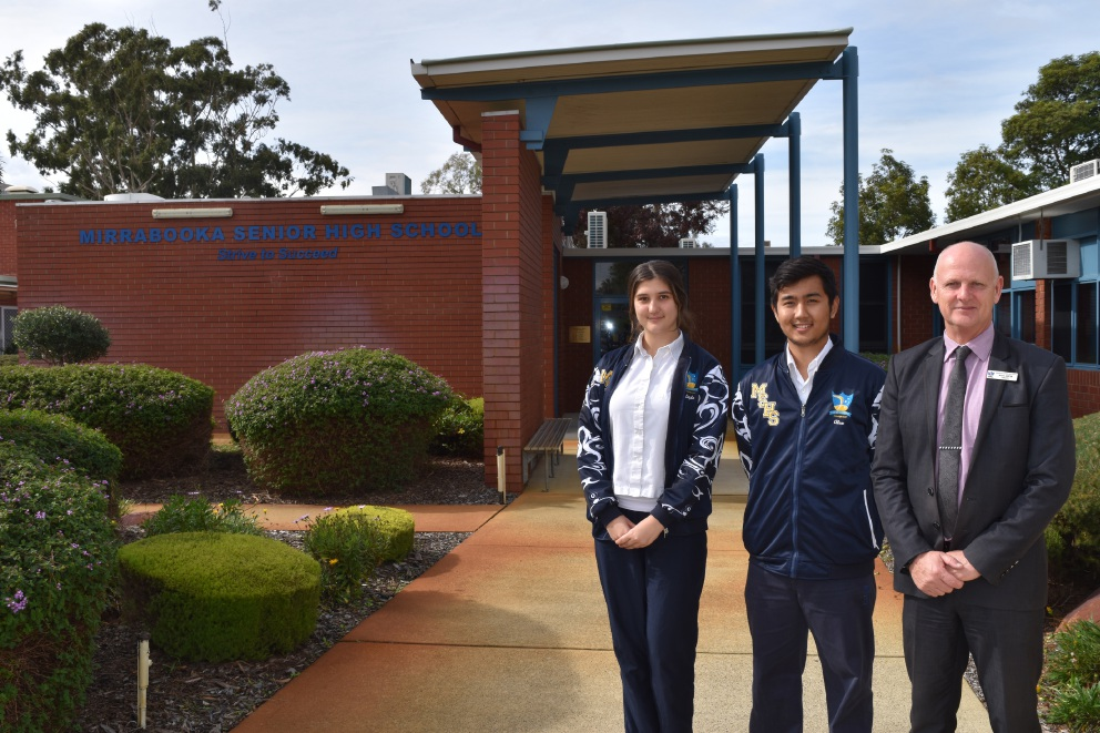 School captain Layla Bicic, principal Wayne Austin and co-school captain Alexander Zaw-Moe.