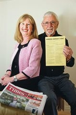 Bernice and Bill Marwick with the original newspaper, and as it is today. d423084