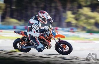 Beau Erickson won round two of the mini-motard championship. Picture: Andrew Tingle Photography