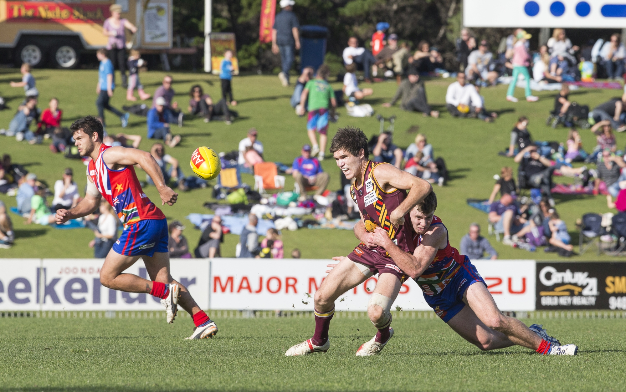 Laine Rasmussen lays a strong tackle on Subiaco's George Hampson. Picture: Dan White