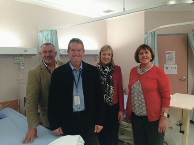 Agricultural Region MLC Paul Brown, Regional Development Minister Terry Redman, Central Wheatbelt MLA Mia Davies and Operations Manager, Western Wheatbelt Beverley Hamerton at Northam Hospital.