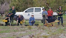 Mitch Borgogno,Mark Claxton and Daniel Jones from the Department of Parks and Wildlife, Jim Prince,David James and Bryony Fremlin from Friends of Forrestdale and Mark Brundrett from DPW. Picture: Martin Kennealey d422745