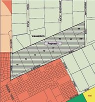 The proposed urban rezoning of lots 89 to 95 and 100 Dundebar Road and lot 88 Garden Park Drive.