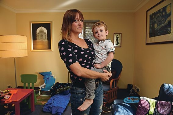 Ruth Callaghan, seen here with her son Vince, would prefer not to be forced into choosing between work and child care. Picture: Marcus Whisson www.communitypix.com.au d422889