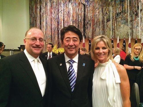 Swan MHR Steve Irons and wife Cheryl Irons with Japanese Prime Minister Shinzo Abe.