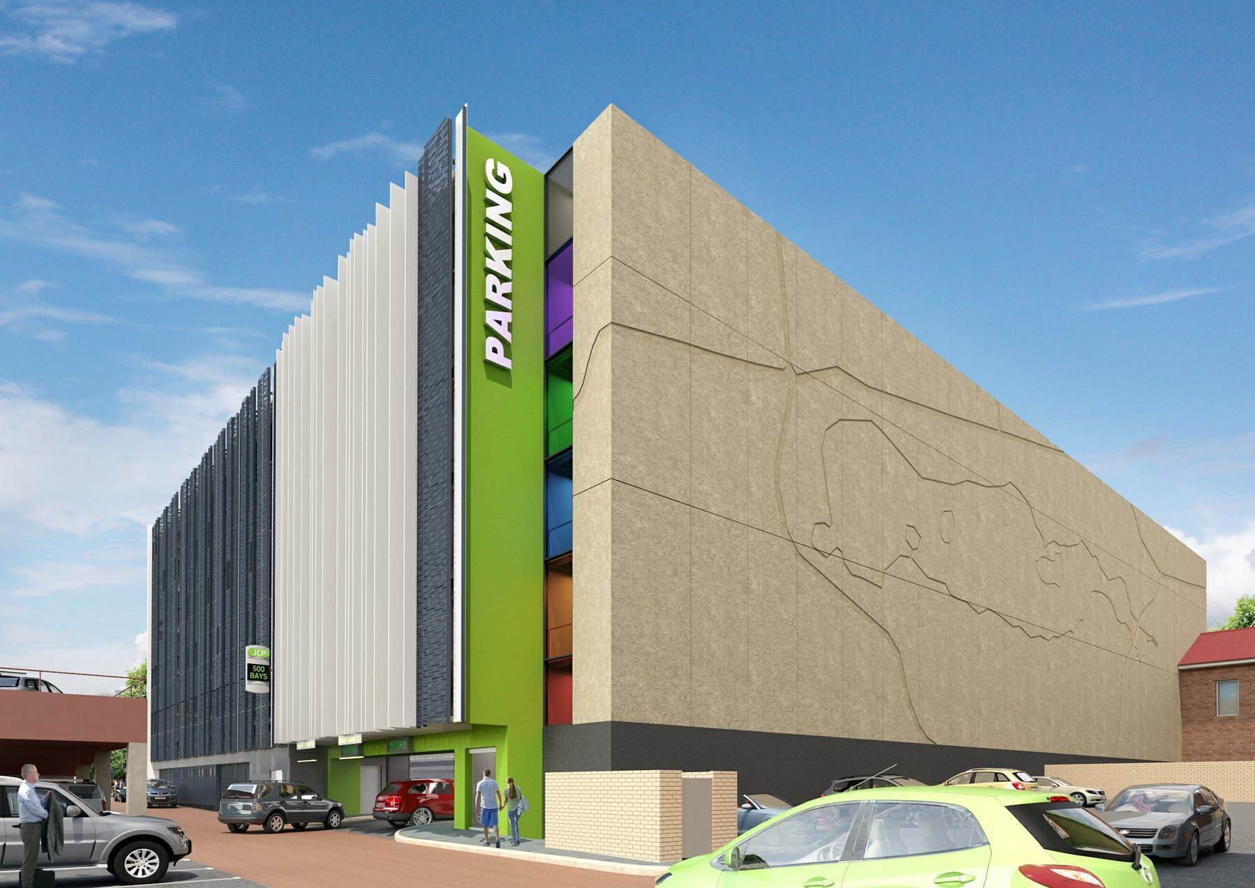 An artist's impression of the multi-storey carpark for Joondalup city centre, with work due to start by August next year.