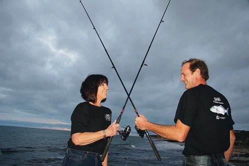 About to cross rods: Carolyn Benniman caught 79 tailor in the annual Department of Fisheries survey, beating husband John with 67 at Point Walter on the Swan River.