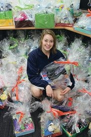 Year 10 student Shania Lindau compiled the hampers as part of her childcare class.