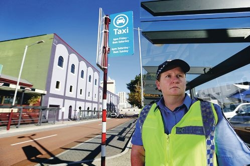Sergeant Nicole Winstone is part of a police crackdown on taxi ranks. Picture: Andrew Ritchie www.communitypix.com.au d422381