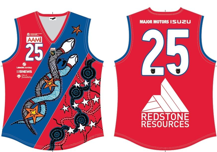 West Perth's Naidoc Round jumper designed by Hellena Stokes.
