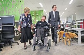 Marita Walker, Peter Darch with his dog Phoebe, and Bruce Bonyhady. Picture: Bruce Hunt d422309