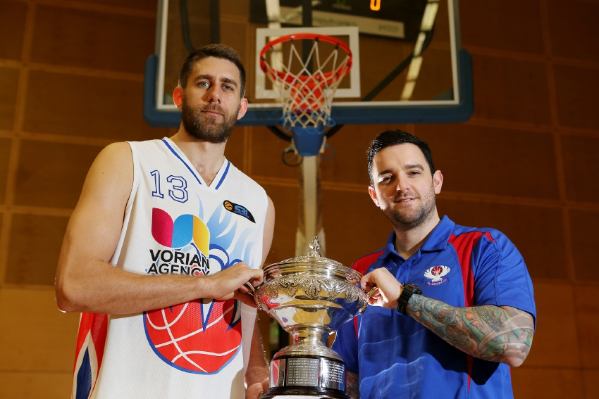 East Perth Eagles player Tom Jervis with captain Adam Forde after winning the 2014 championship. Picture: Andrew Ritchie        www.communitypix.com.au   d425318