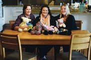Jennifer Sopp, Emma Reynolds and Belinda Stewart with Emma's mums bears. d421734