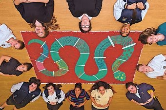 Perth Modern School students posing with their Naidoc Week-inspired canvas mural. Picture: Marcus Whisson. www.communitypix.com.au d422234