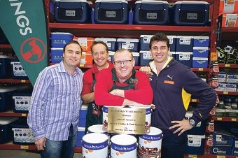 Former Fremantle Docker Paul Hasleby, Bunnings managing director John Gillam, Bunnings complex manager Peter Kingwell and former West Coast Eagle Andrew Embley.