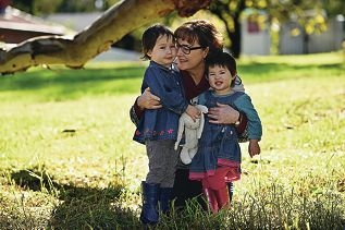 Councillor Jennie Carter with her granddaughters Asha (3) and Carys (20 months) Nguyen. Picture: Marcus Whisson www.communitypix.com.au d422066