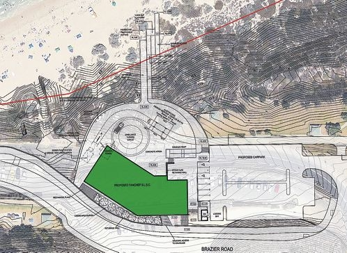 Early drawings released in 2013 show where the proposed Yanchep Surf Life Saving Club would be built in relation to the Brazier Road realignment and what it might look like from the beach.