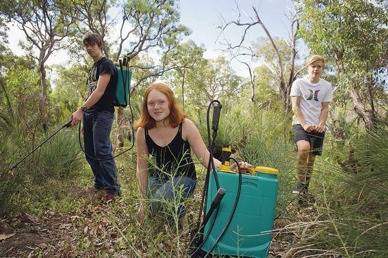 Harrison Jessett (15), Chloe Dunne (13), DJ Balinski (14) were hard at work preserving the bushland near the school.