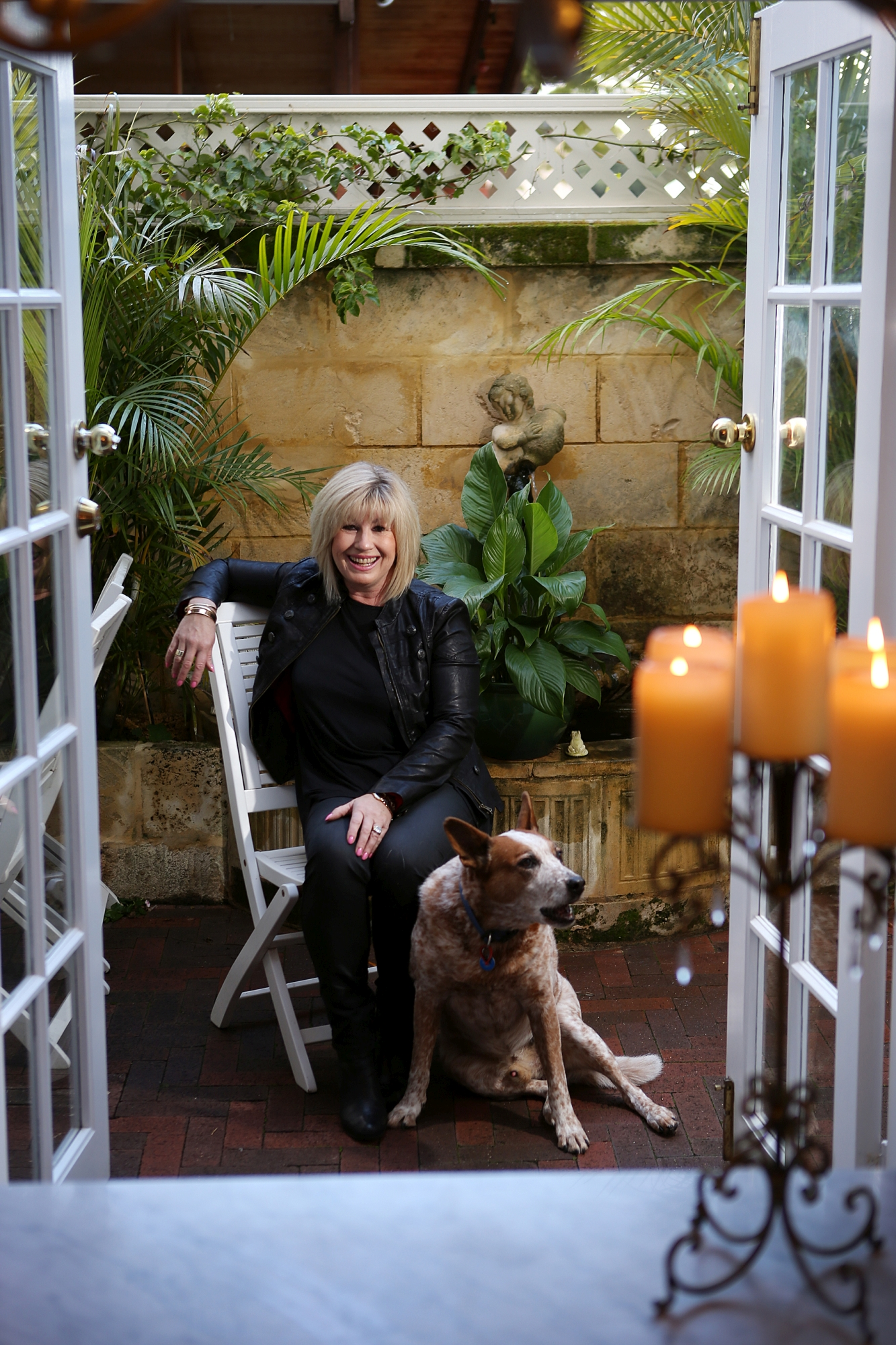 Alison Salmond with her dog Blue.