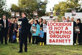 Bassendean MLA Dave Kelly fronts the group opposing the disability justice centre.|Picture: Marcus Whisson www.communitypix.com.au d421367