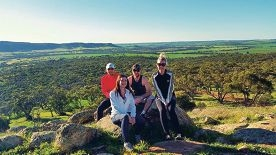 Team J2B2 – Jason Gilby, Carla Jordan, Ben Vroomans and |Bronwyn Polkinghorne – on a training hike for the Perth Hills Oxfam Trailwalker fundraiser.