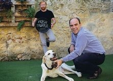 Brad Lamb and Adam Wilson and his dog Errol are ready for the Truffle Festival.