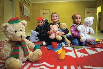 From Left: Darcy Johns (2 yrs), Chase Brock (3 yrs), Mackenzie Panui (3 yrs) getting ready for the City of Wanneroo's Teddy Picnic